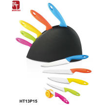 knife set with plastic block